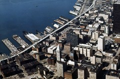 Aerial of waterfront, circa 1972