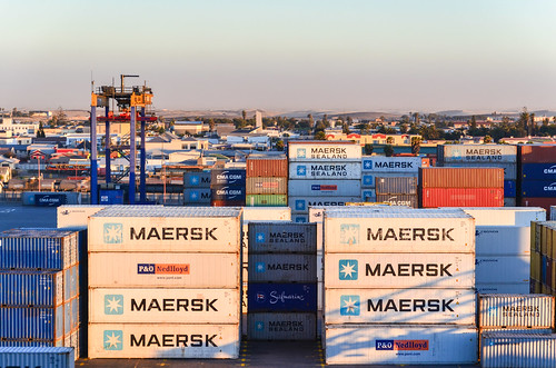 Maersk containers at the port of Walvis Bay