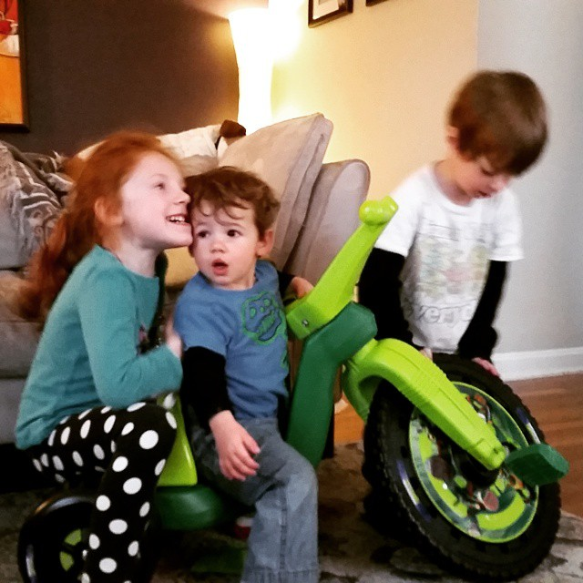 I'm working on a blog post w s part about 3rd kids and scrolled through my phone to find a picture to use. I think this sbout sums it up! #siblings