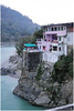 Houses on the banks of river Ganga in Rishikesh