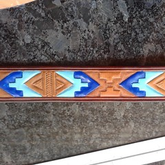 #acrylic #colorful #Tribal #leather #leatherdogcollars #customtooledleather