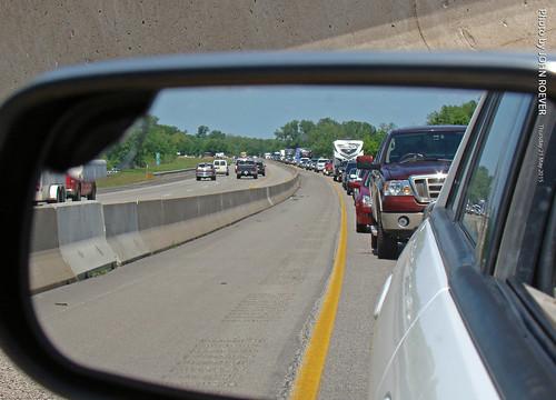 road backup drive highway driving traffic may kansas sideviewmirror turnpike tollway ontheroad i70 interstate70 2015 kta leavenworthcounty kansasturnpike driverpic backeduptraffic may2015