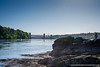 Britannia Bridge and the Menai Straits from beneath Menai Bridge