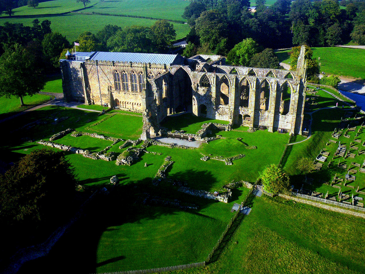 Aerial view, Bolton Abbey. Credit Dr John Wells