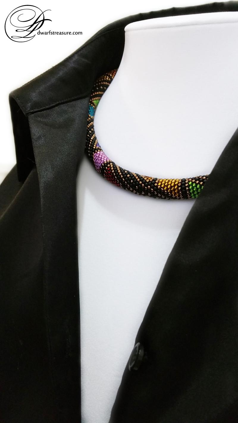 Boho Chic black beaded crochet short necklace