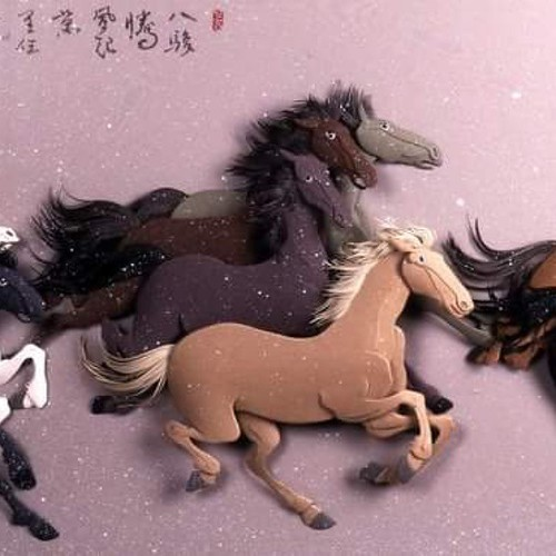 Paper Sculpture Horses by Ching-Fang Wu