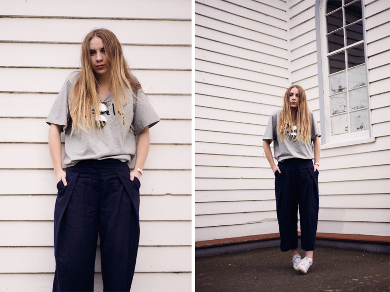 Stolen Inspiration | Kendra Alexandra | New Zealand Fashion Blogger | Lonely Hearts Tshirt, Glassons Culottes, Topshop Sneakers, Bing Bang Cuff