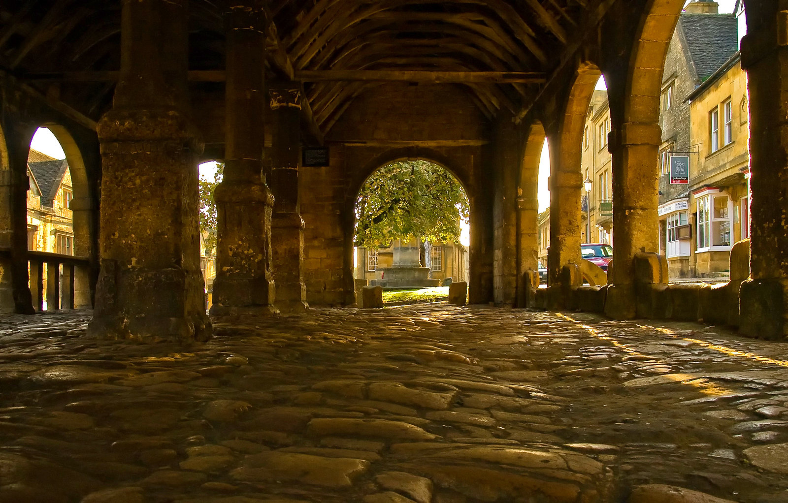 The cobbled floor of the 17th century Market Hall in Chipping Campden, Gloucestershire. Credit Anguskirk