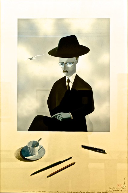Fernando Pessoa himself with my cup of coffee, one paint brush and one pencil belonging to me and his pen - António Costa Pinheiro (1932 - 2015)