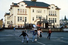 Kids playing soccer at University Heights, circa 1980