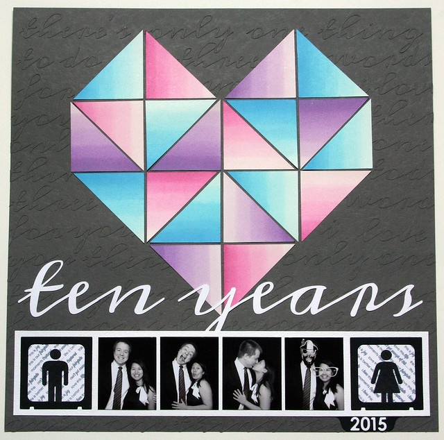 Ten Years Geometric Heart Layout with Dip-Dyed Ombre Tags | shirley shirley bo birley Blog