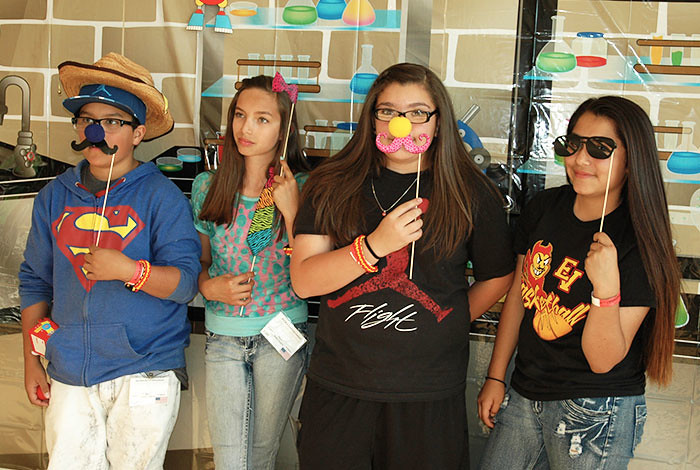Dylan Valdez, Aubriana Duran, Caitlin Hice and Savannah Martinez from Velarde Elementary School (left to right).