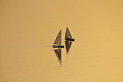 sunset india lake reflection gold evening sailing zoom pair telephoto sync yachts hyderabad synchronized hussainsagar