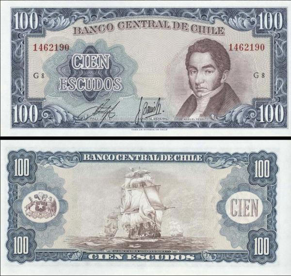 100 Escudos Čile 1962, P141 UNC