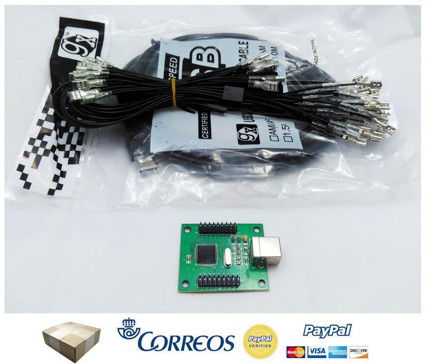 Arcade usb 2 player encoder xin mo pc interfaz raspberry for Conectar botones arcade a raspberry pi 3