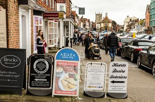 uk greatbritain england signs pedestrian wiltshire highstreet marlborough shoppers 2015 201504030633101