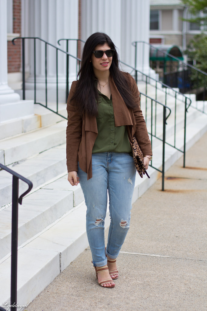 green button down, brown draped jacket, distressed denim.jpg