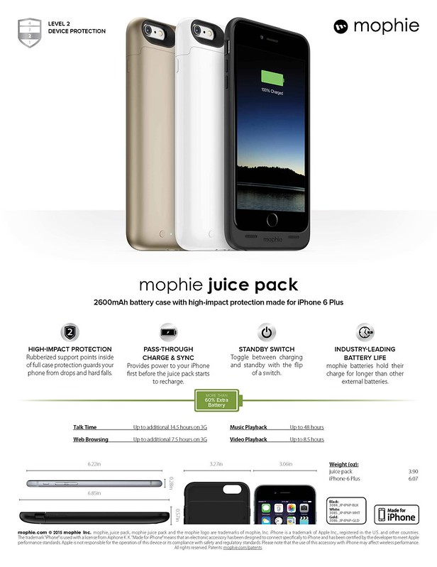 Mophie Juice Pack for iPhone 6 Plus (Sheet)