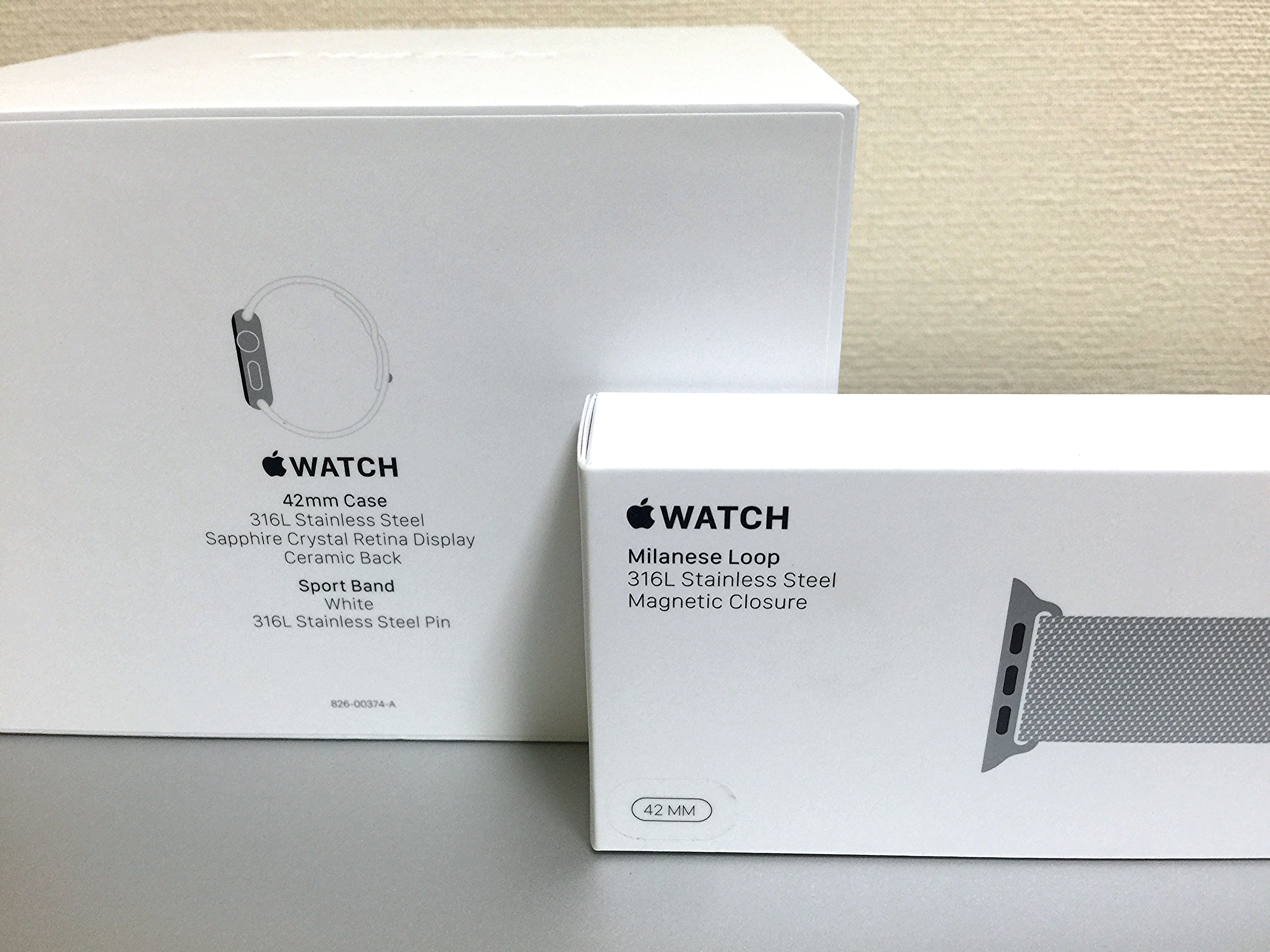 Package of Apple Watch 42mm and Milanese Loop