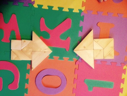 Wood tangrams