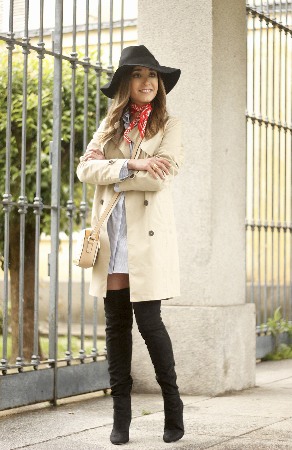 trench dress shirt over the knee boots red bandana hat pepe moll bag19