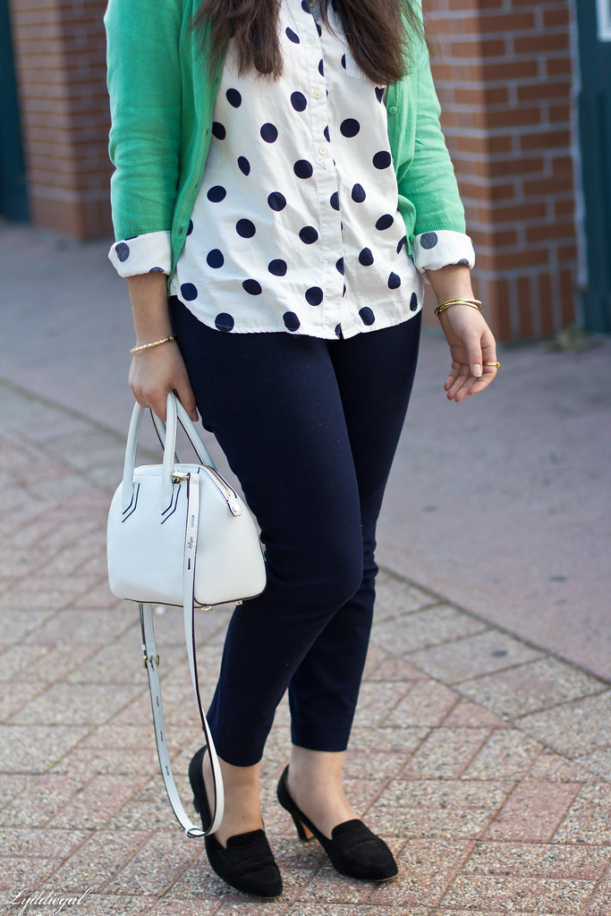 polka dot shirt, green cardigan, navy pants-3.jpg