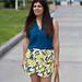 leomon print skort, teal blouse, jeweled sandals-1.jpg