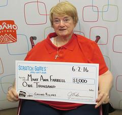 Mary Ann Farrell - $1,000 Casino Riches