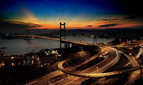 香港 夜景 黃昏 青馬大橋