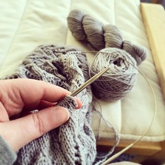 The conference is in 2 days and I have 378 yards to go on my #hitofude I am #knitting like my life depends on it.