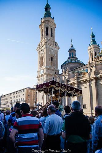 Palio de la Virgen de la Fraternidad frente a la Basílica del Pilar