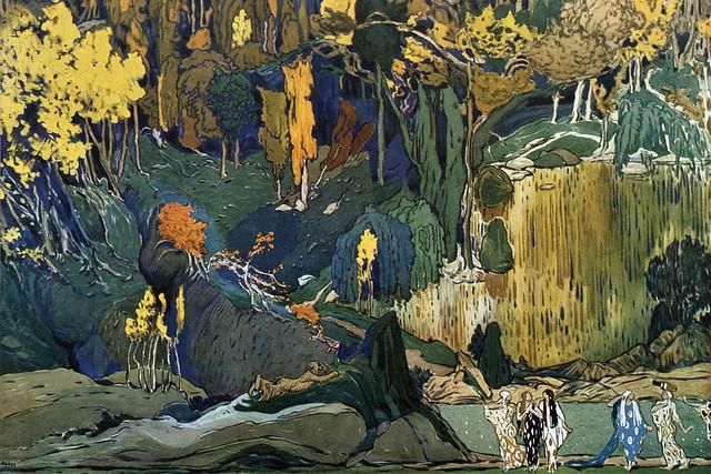 Stage design for Vaslav Nijinsky's L'Aprés-midi d'un faune, designed by Léon Bakst