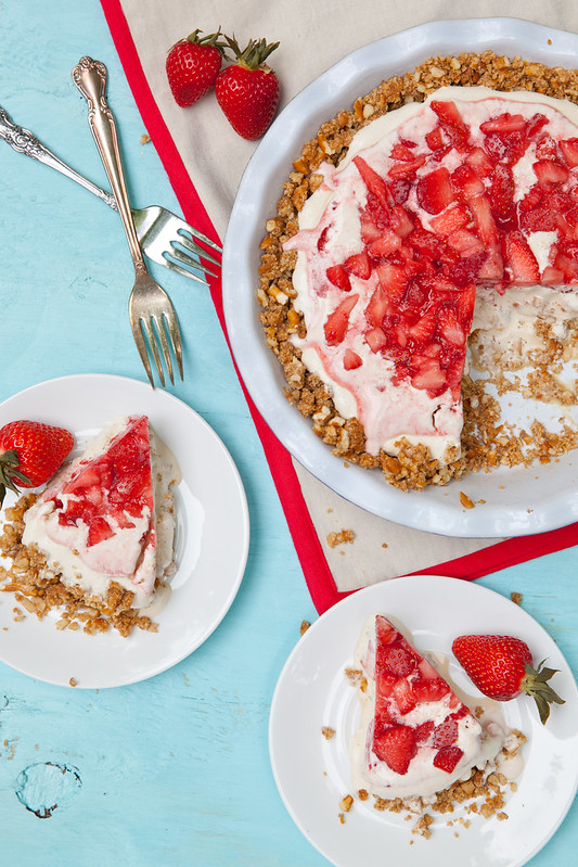 Strawberry Pretzel Ice Cream Pie