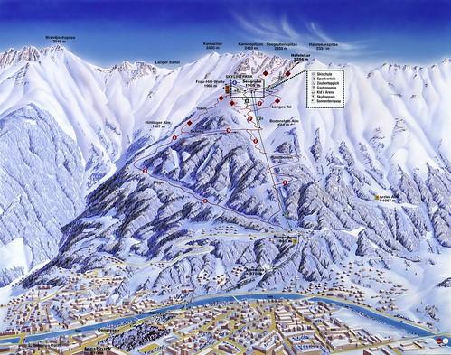 Innsbruck - Nordkette - mapa sjezdovek