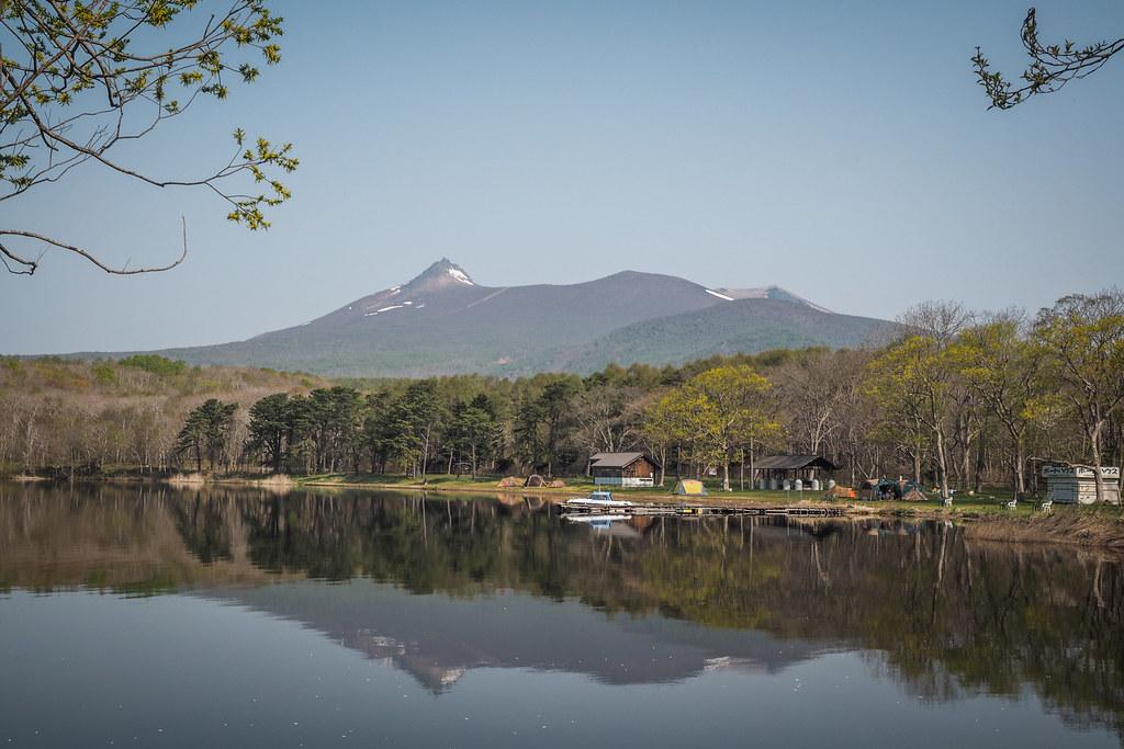 Overlooking the three campground in Onuma Park, Hokkaido, Japan