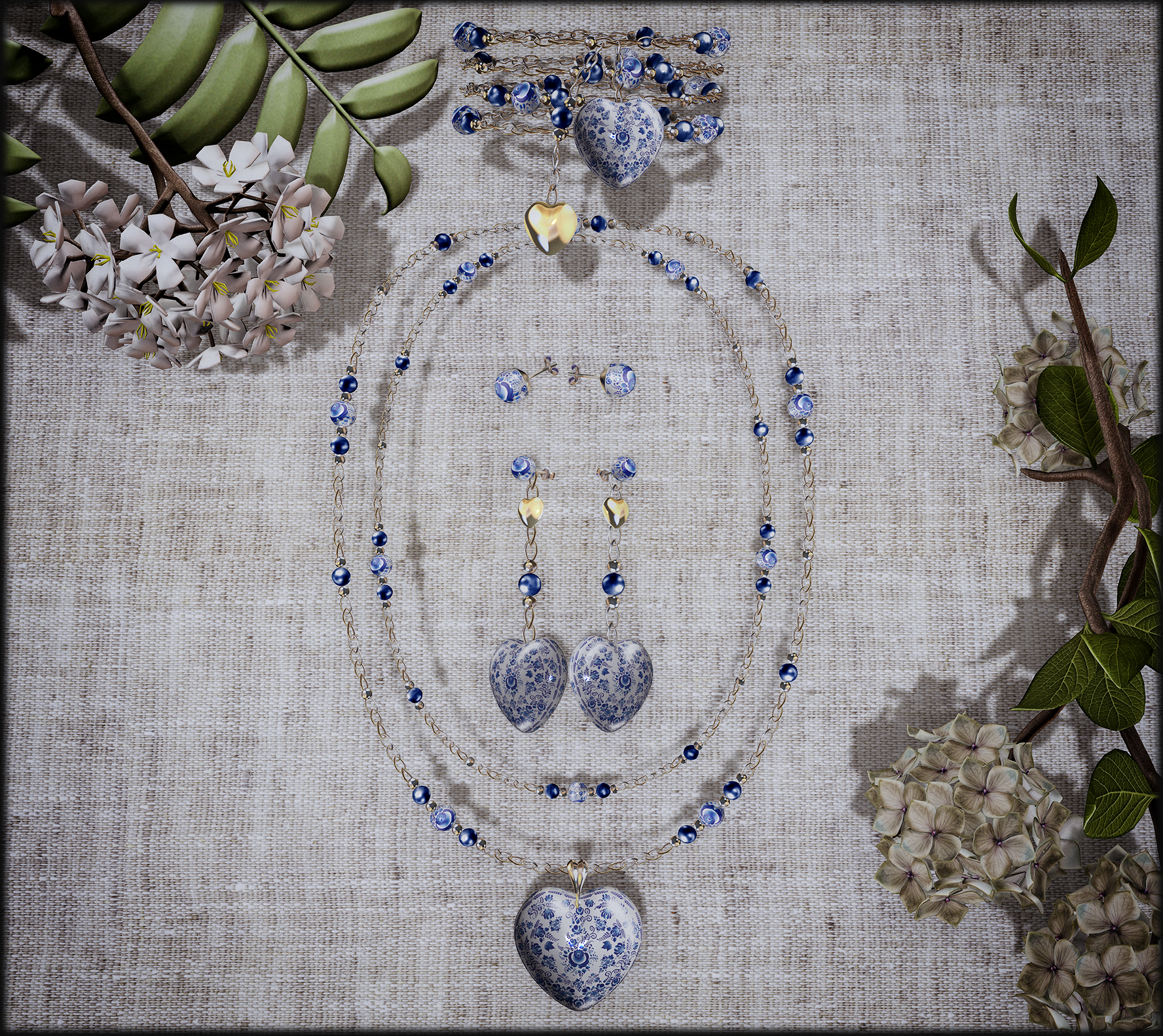 Gzhel Heart_Folk Jewelry Set by Avaway