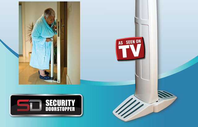 The Security Doorstopper is a door wedge with a rear foot pad and a handle