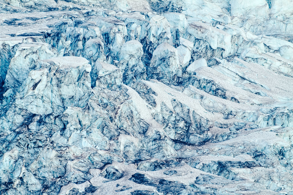 A close-up view of some of the massive shapes of ice and snow in the Nisqually Glacier in Mount Rainier National Park