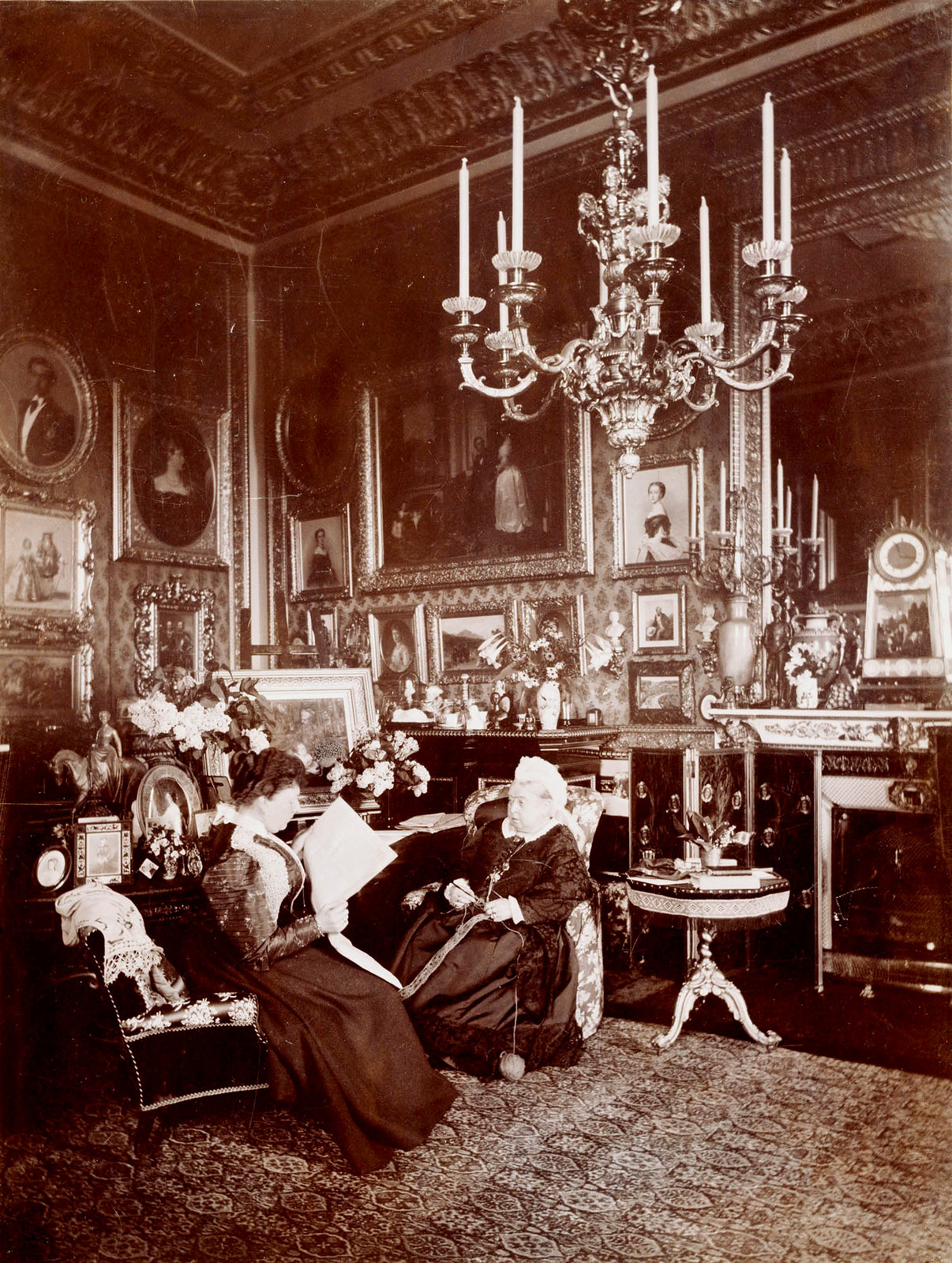 Queen Victoria and Princess Beatrice in the Queen's Sitting Room in 1895, photographed by Mary Steen