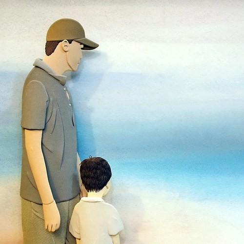 Paper Sculpture Husband and Son by Ching-Fang Wu