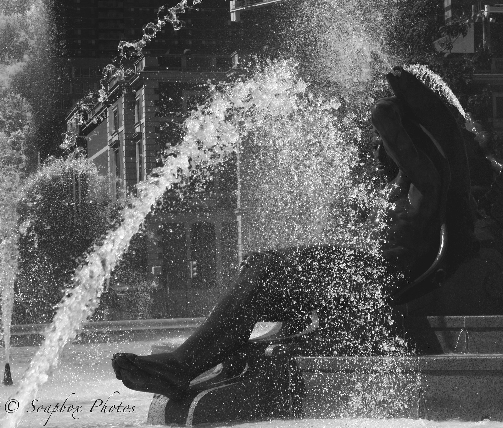 Swann Memorial Fountain Snippet in Black & White