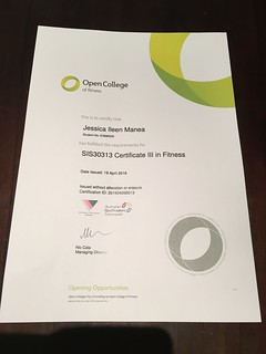 I have my Cert III in Fitness!