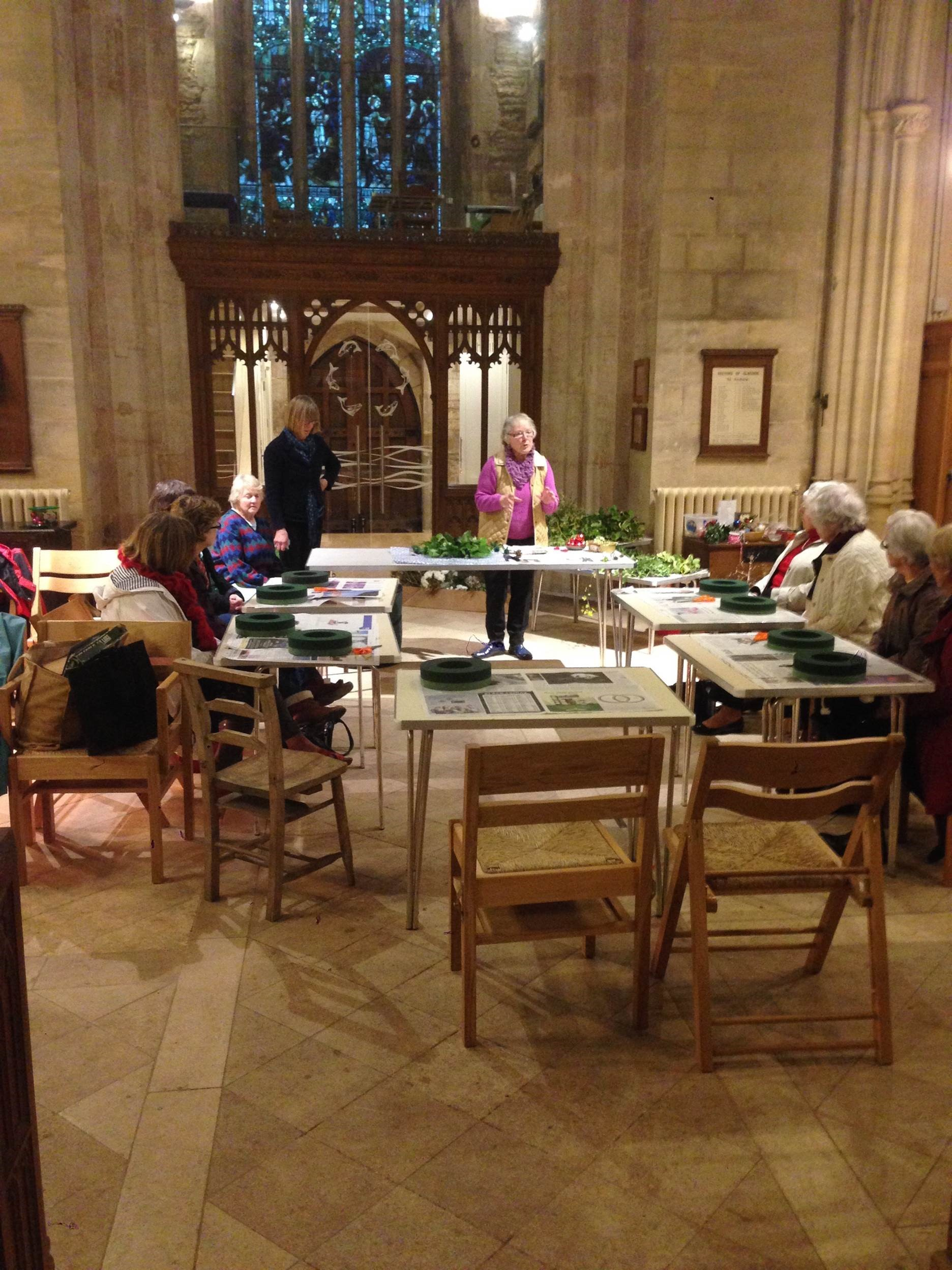 Flower arranging workshop at St Andrew's, Blagdon