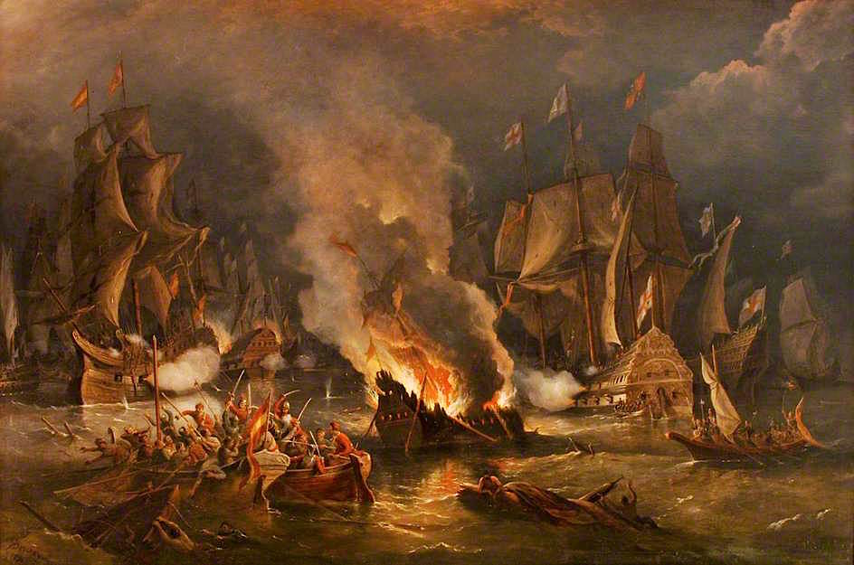 The Spanish Armada Driven out of Calais by Fire by Richard Brydges Beechey