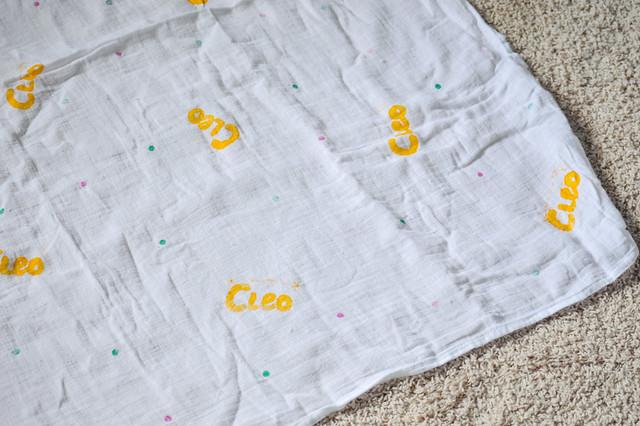 Hand-stamped muslin blanket