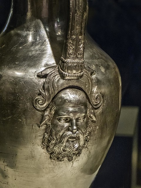 Closeup of Silenus, companion and tutor to the wine god Dionysus, on a silver oinochoe (wine jug) from King Philip II's tomb Greek 350-336 BCE