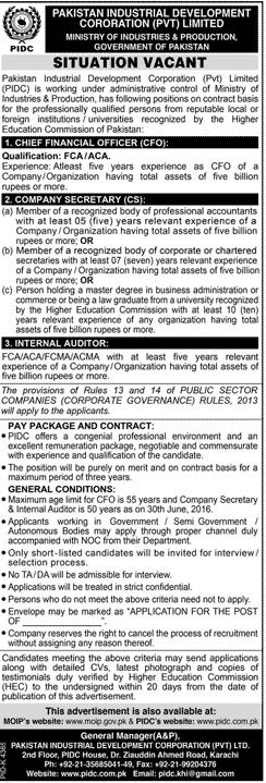 Pakistan Industrial Development Corporation Jobs
