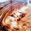 Gorgeous! :confounded:   {RG via: @ltjarbor} Tabletop with epoxy resin inlay  ##ltjarbor #wood #wood working #interiordesign #acacia #woodslab #chamcha #suarwood #slab #design #unique #crack # epoxy #furnituresingapo #furniture