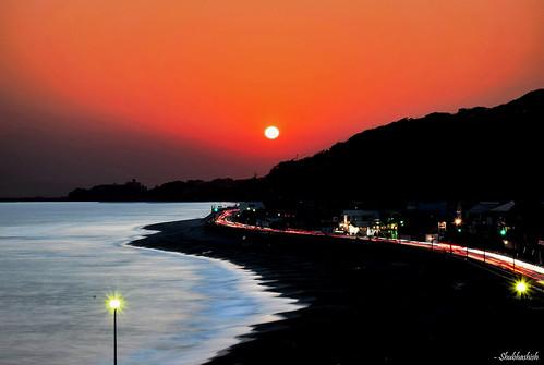 sunset beach japan nikon kamakura 日本 鎌倉 inamuragasaki