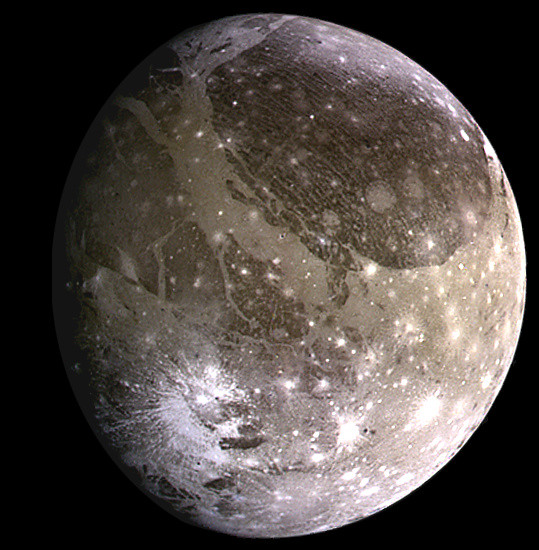 Ganymede, the moon of Jupiter, acquired by NASA's Galileo spacecraft